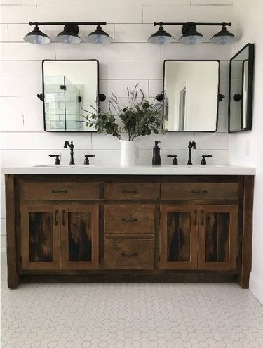 Wood handmade country bathroom vanity in modern farmhouse bathroom