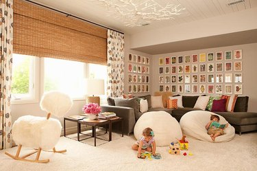 family room wall ideas with gallery wall and bean bag chairs