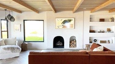 minimalist modern family room ideas with velvet burnt orange couch