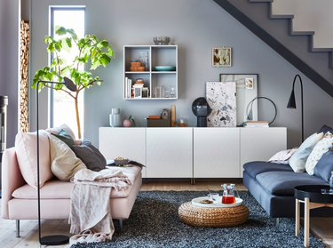 blue living room with IKEA furniture