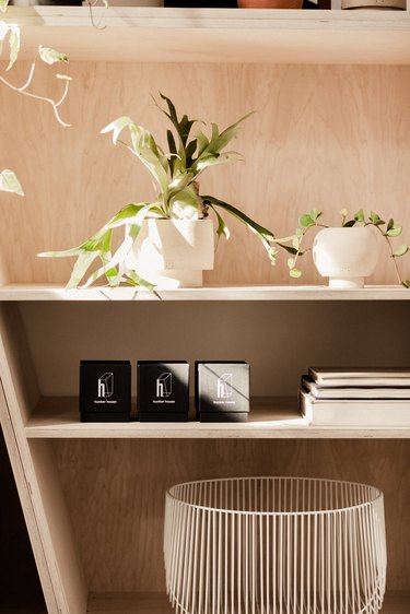 bookcase with greenery and ceramics
