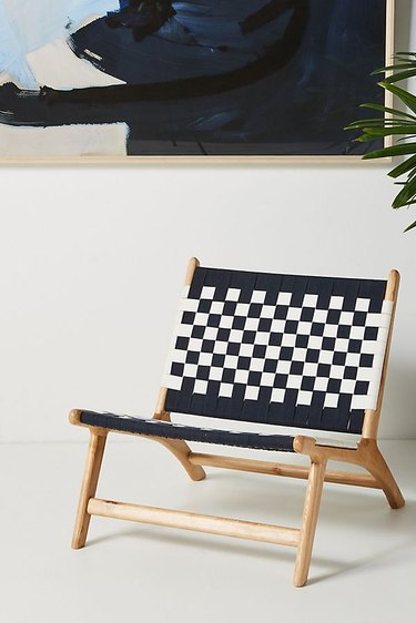 navy and white checkered chair