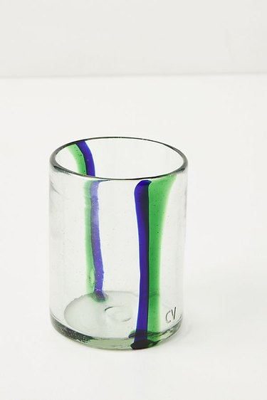 glass with blue and green stripes