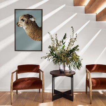 auburn velvet and wood armchair