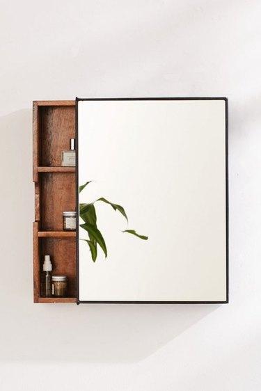 small bathroom storage ideas with wood sliding bathroom storage mirror