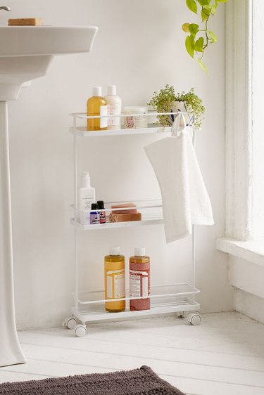 small bathroom storage ideas with minimal white tower bathroom storage cart