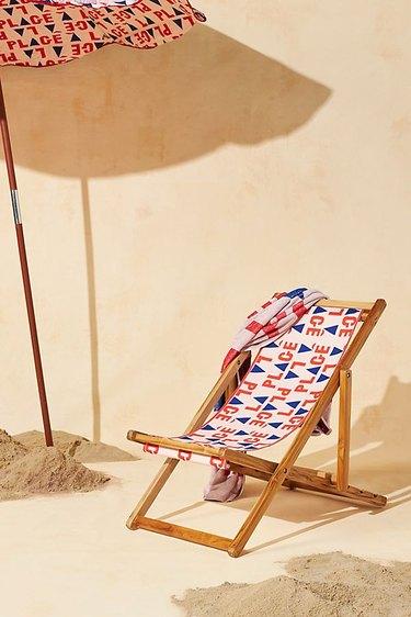 red white and blue beach chair