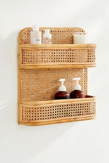 small bathroom storage ideas with rattan and bamboo bathroom shelving