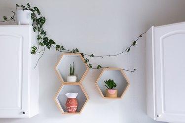 hexagonal bathroom wall storage