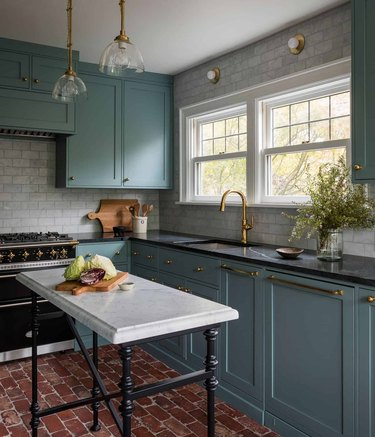 compact kitchen island ideas for small kitchens with brick floors and green shaker cabinets