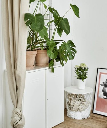 IKEA bedroom idea with a white basket-like storage bin with a table top, next to a white locker with monstera plants