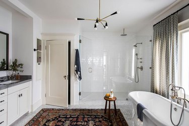 elegant bathroom lighting idea with two tone elegant pendant light