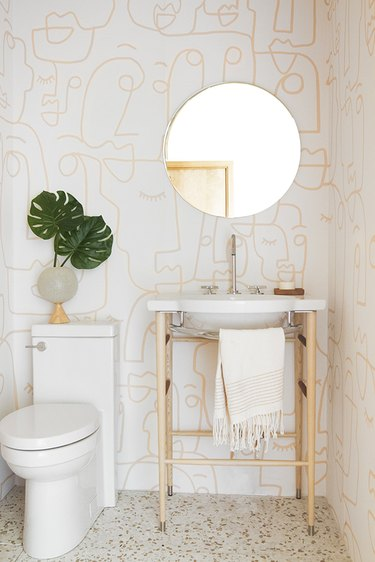 modern print bathroom wallpaper idea