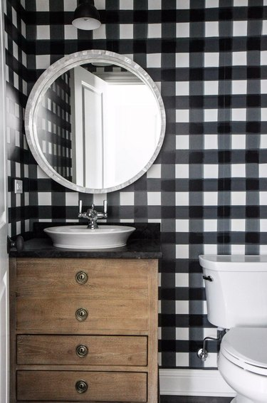 bathroom wallpaper idea with plaid wallpaper