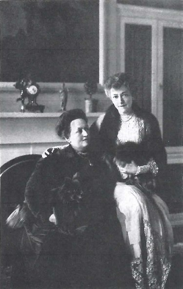 black and white photograph of Bessie Marbury and Elsie de Wolfe from My Crystal Ball, 1923