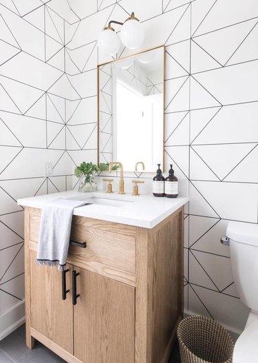 bathroom wallpaper idea minimal bathroom