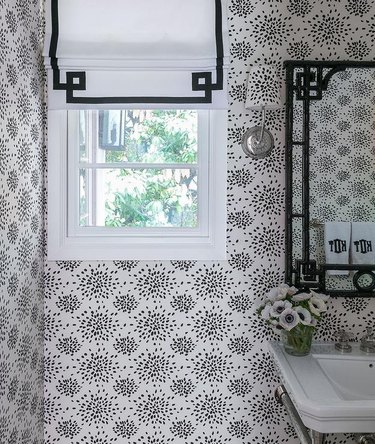 modern wallpaper with dot pattern in traditional bathroom