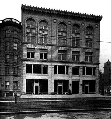 black and white photograph of the New Century Building on Huntington Avenue