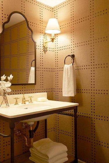 geometric modern wallpaper in bathroom with open vanity