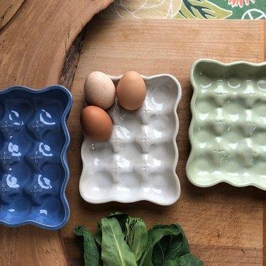 blue, white, and green handmade ceramic egg trays