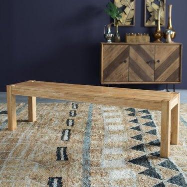 Basic wooden bench in light finish