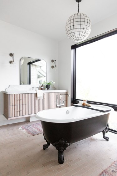 floating wood master bathroom vanity