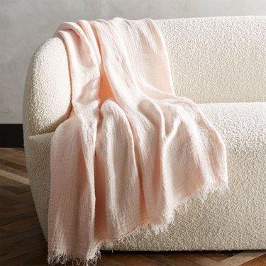 blush room decor, CB2 Lisboa Linen Throw