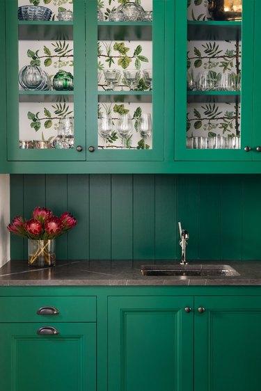green traditional kitchen cabinet doors