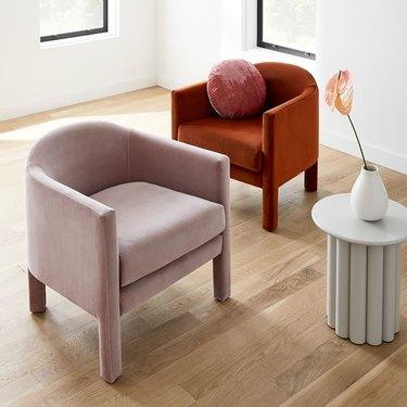 blush room decor, velvet lounge chair from West Elm