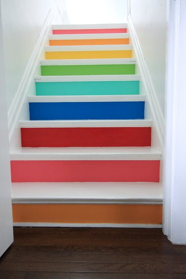 painted stairs with rainbow-colored risers