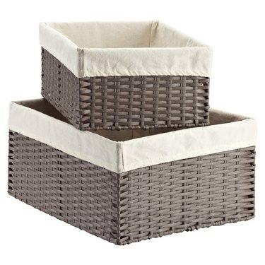 small kitchen storage idea with rectangular storage bins