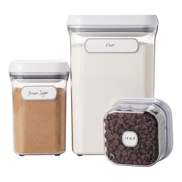 small kitchen storage idea with clear canisters with labels