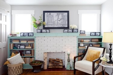 Interior with white painted brick fireplace