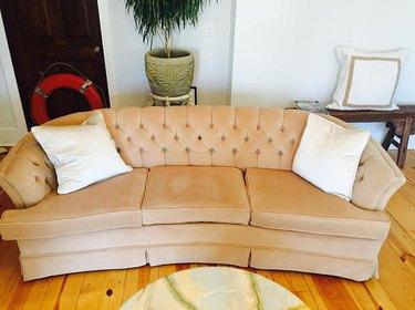 Faux Velvet Parlor Sofa