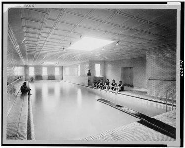 swimming pool subway tile walls