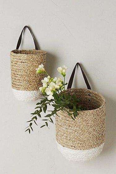 anthropologie braided baskets