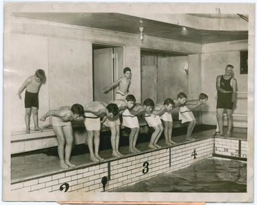swimming pool with subway tile