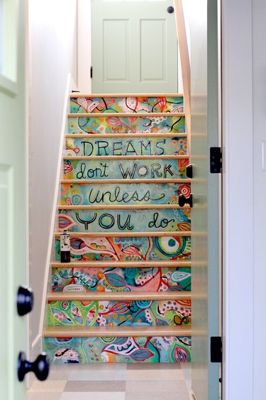 artistic painted stairs with inspirational quote