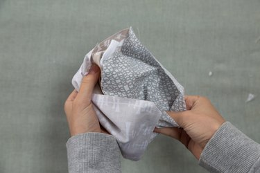 Easy No-Sew Face Mask Tutorial: folding fabric