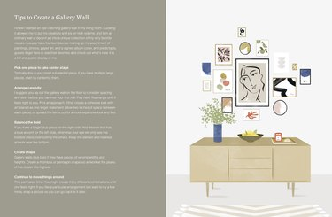pages of book with text and illustration of gallery wall