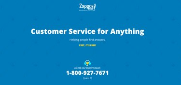 """screenshot with text, including the phrase """"Customer Service for Anything"""""""