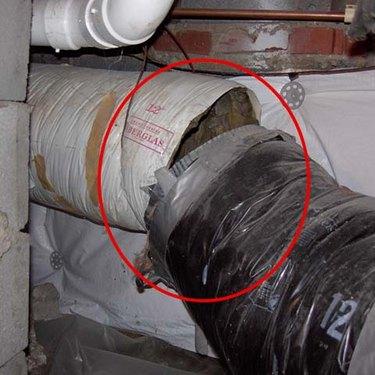 Broken duct seam.
