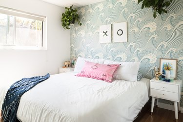 Wave wallpaper on bedroom wall