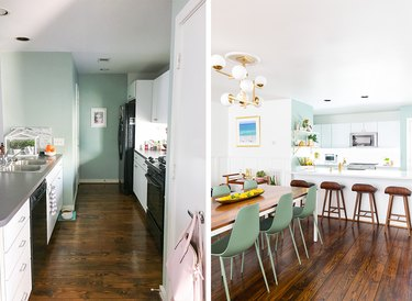 before and after white, green and walnut kitchen makeover