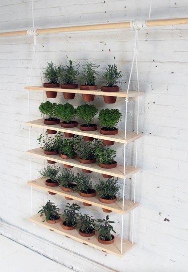 hanging shelves DIY project for plants