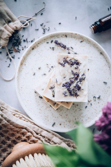 Making goat's milk soap with lavender
