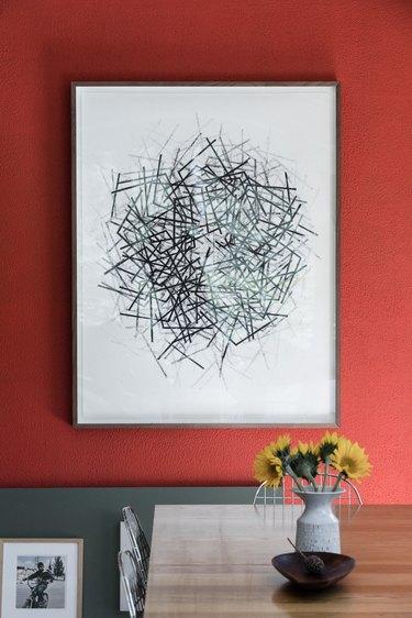Giant monoprint by artist Ros Cross,