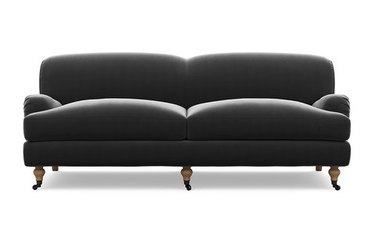 gray couch living room idea with two seats on casters