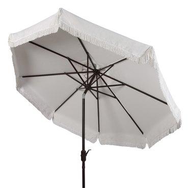 Safavieh Milan 9' Market Crank Fringe Tilt Patio Umbrella