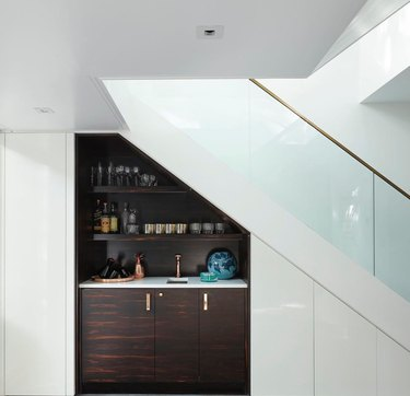 under the stairs idea with built-in bar